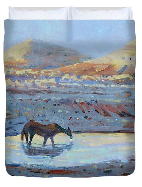 Duvet Cover featuring the painting Water Hole by Donald Maier