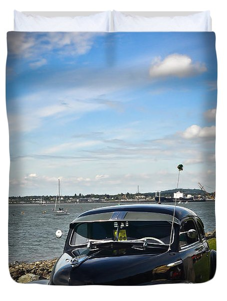 '47 Chevy By The Bay Duvet Cover