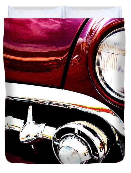 Duvet Cover featuring the digital art 49 Ford by Tony Cooper