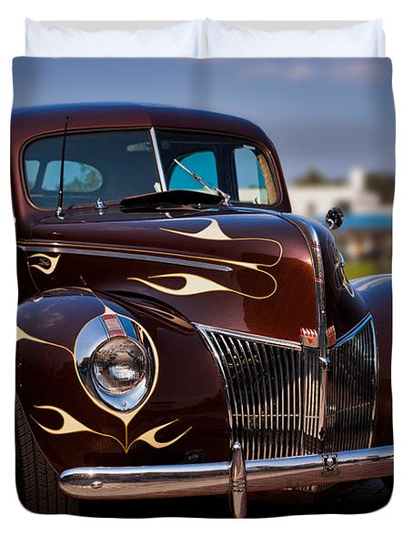'49 Ford Two Door Sedan Duvet Cover by Christopher Holmes