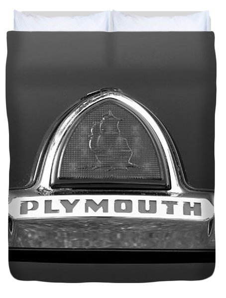 49 Plymouth Emblem Duvet Cover by David Lee Thompson