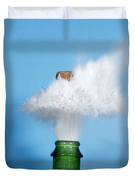 Champagne Cork Popping Duvet Cover by Ted Kinsman