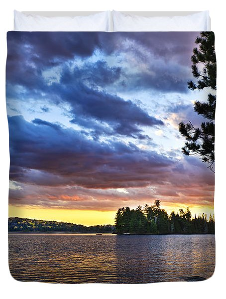 Dramatic Sunset At Lake Duvet Cover by Elena Elisseeva