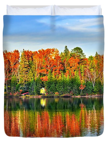 Fall Forest Reflections Duvet Cover by Elena Elisseeva