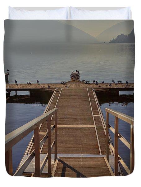 Lago Di Lugano Duvet Cover by Joana Kruse