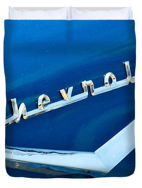 57 Chevy Bel Air Emblem Duvet Cover by Mark Dodd