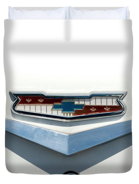 57 Chevy Emblem Duvet Cover by Mark Dodd