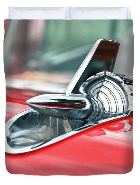 57 Chevy Hood Ornament 8509 Duvet Cover by Guy Whiteley