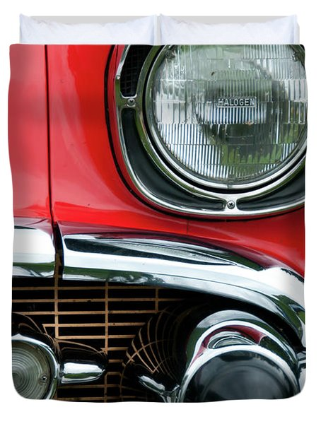 57 Chevy Left Front 8560 Duvet Cover by Guy Whiteley
