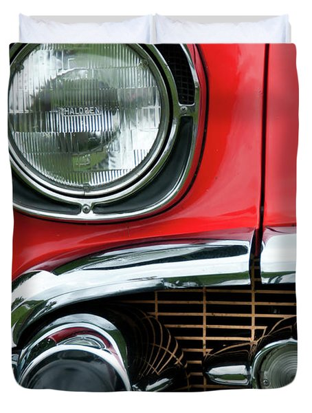 57 Chevy Right Front 8561 Duvet Cover by Guy Whiteley
