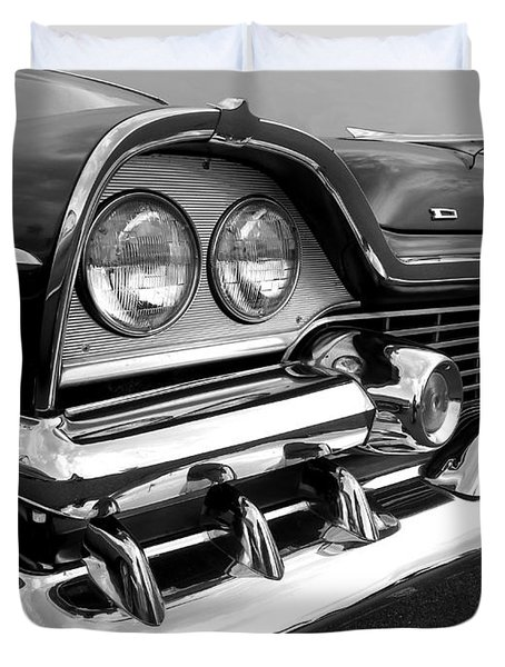 58 Plymouth Fury Black And White Duvet Cover