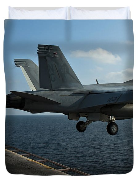 An Fa-18f Super Hornet Launches Duvet Cover by Stocktrek Images