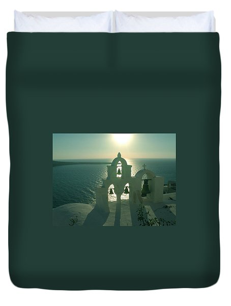 Duvet Cover featuring the photograph Sunset Santorini Greece by Colette V Hera  Guggenheim