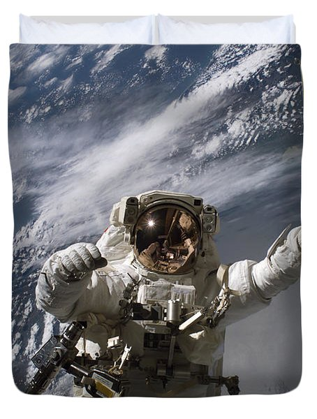 Astronaut Participates Duvet Cover by Stocktrek Images