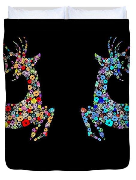 Reindeer Design By Snowflakes Duvet Cover by Setsiri Silapasuwanchai