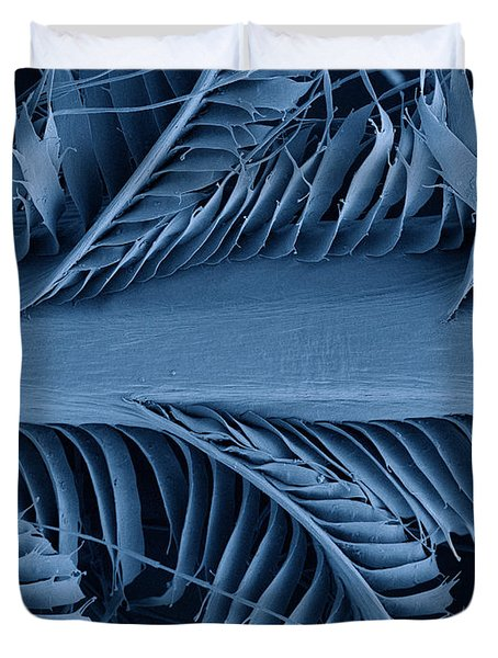 Sem Of Eastern Bluebird Feathers Duvet Cover by Ted Kinsman