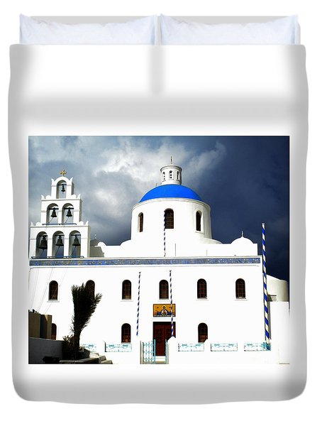Duvet Cover featuring the photograph Santorini Greece by Colette V Hera  Guggenheim