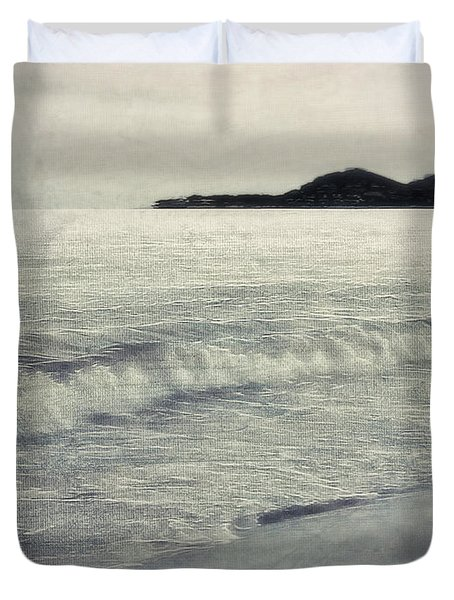 A Beach In Mexico In Black And White Duvet Cover by Billie-Jo Miller