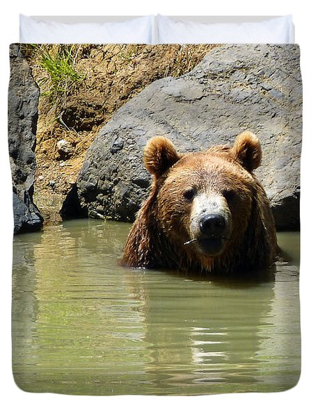A Bear's Hot Tub Duvet Cover by Methune Hively