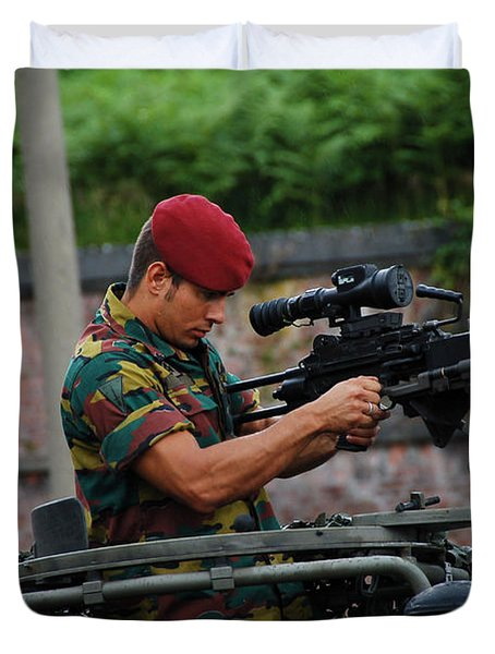 A Belgian Paratrooper Of The 1st Duvet Cover by Luc De Jaeger