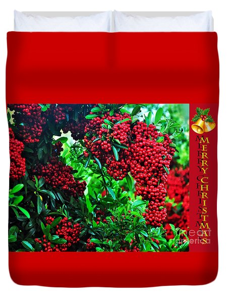 A Berry Merry Christmas Duvet Cover by Kaye Menner
