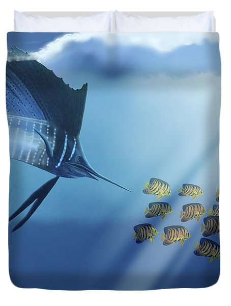 A Blue Marlin Swims After A School Duvet Cover by Corey Ford