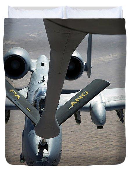 A Boom Operator Refuels An A-10 Duvet Cover by Stocktrek Images