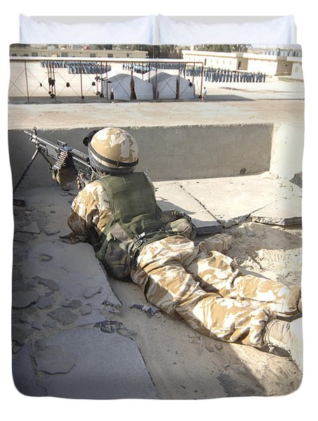 A British Soldier Provides Security Duvet Cover by Andrew Chittock