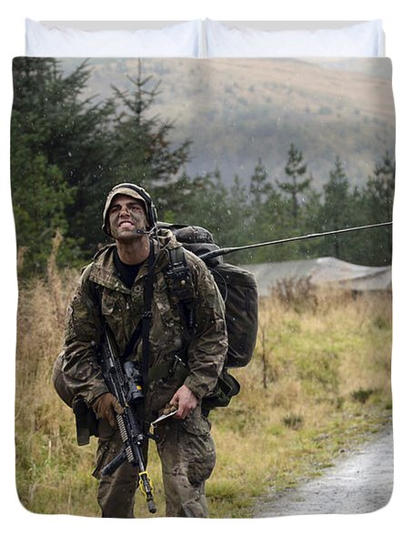 A British Soldier With Radio Duvet Cover by Andrew Chittock