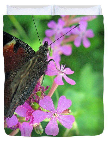 A Butterfly On The Pink Flower 2 Duvet Cover by Ausra Huntington nee Paulauskaite