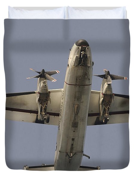 A C-2 Greyhound In Flight Duvet Cover by Stocktrek Images