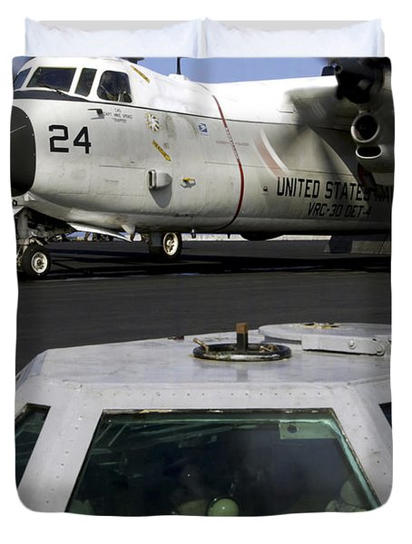 A C-2a Greyhound Prepares For Launch Duvet Cover by Stocktrek Images
