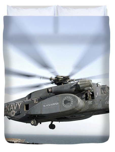A Ch-53 Sea Stallion Helicopter Leaves Duvet Cover