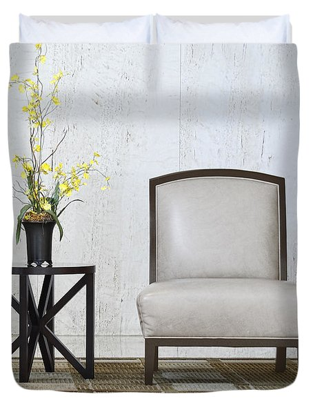 A Chair And A Table With A Plant  Duvet Cover