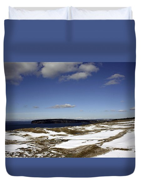 Duvet Cover featuring the photograph A Chambers Bay Snow Day - Chambers Bay Golf Course by Chris Anderson