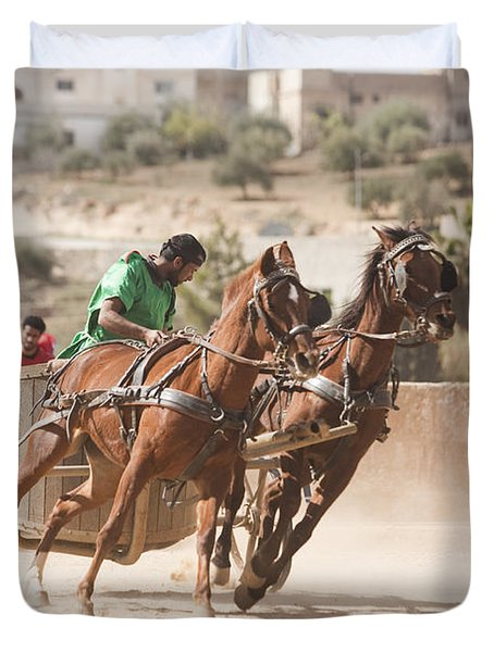 A Chariot Race In The Hippodrome Duvet Cover