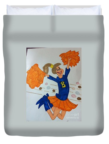 A Cheerful Cheerleader Duvet Cover
