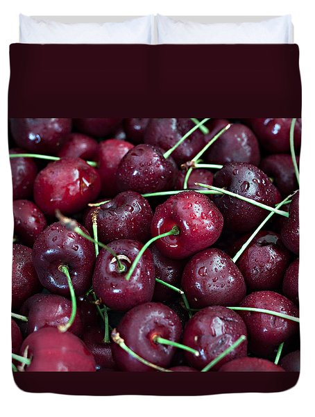 Duvet Cover featuring the photograph A Cherry Bunch by Sherry Hallemeier