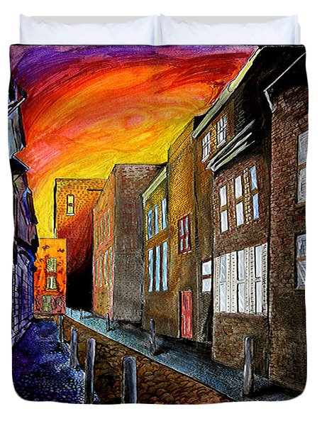 Duvet Cover featuring the mixed media A Cobbled Street by eVol  i