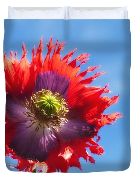 A Colorful Flower With Red And Purple Duvet Cover by John Short