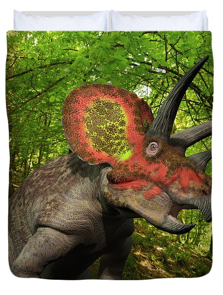 A Colorful Triceratops Wanders Duvet Cover by Walter Myers