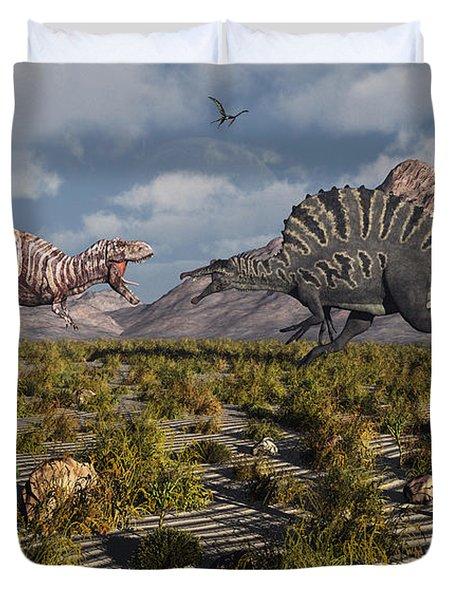 A Confrontation Between A T. Rex Duvet Cover by Mark Stevenson