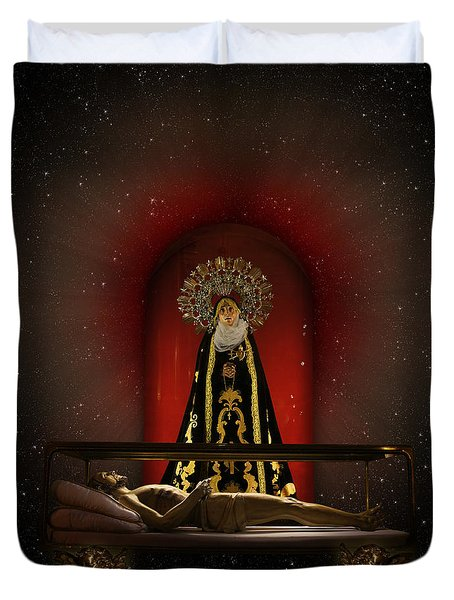 A Cosmic Drama Duvet Cover by Rosa Cobos
