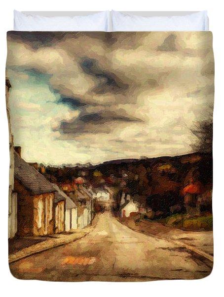 A Cotswold Village Duvet Cover by Lianne Schneider