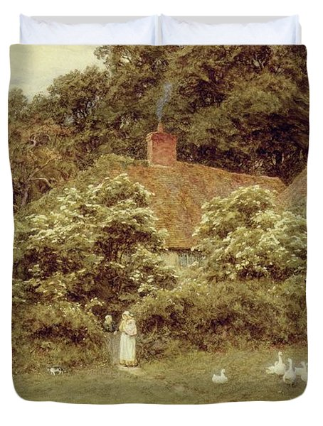 A Cottage At Farringford Isle Of Wight Duvet Cover by Helen Allingham