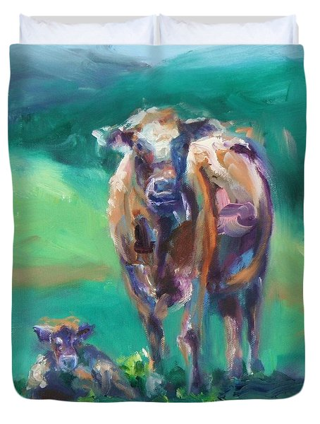 A Cow And Her Calf Duvet Cover by Donna Tuten