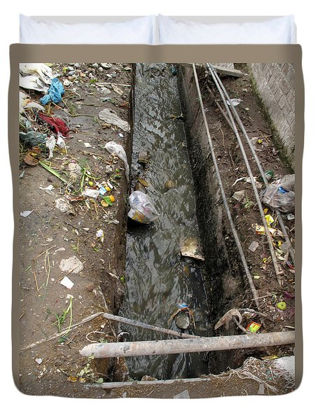 A Dirty Drain With Filth All Around It Representing A Health Risk Duvet Cover by Ashish Agarwal