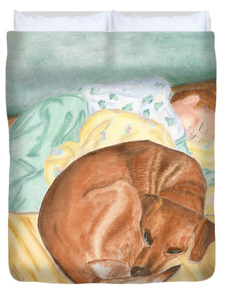 A Dog And Her Boy Duvet Cover by Arlene Crafton