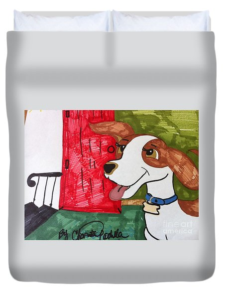 A Dog Is Heading Out The Door. Duvet Cover