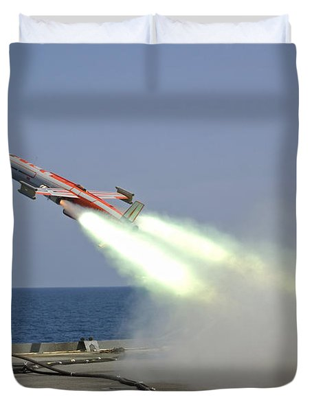 A Drone Is Launched From The Amphibious Duvet Cover by Stocktrek Images